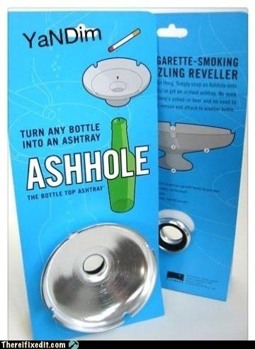 ashhole,ashtray,beer bottle,bottle