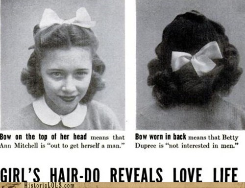 Ad,article,girls,hair bow,magazine,messages