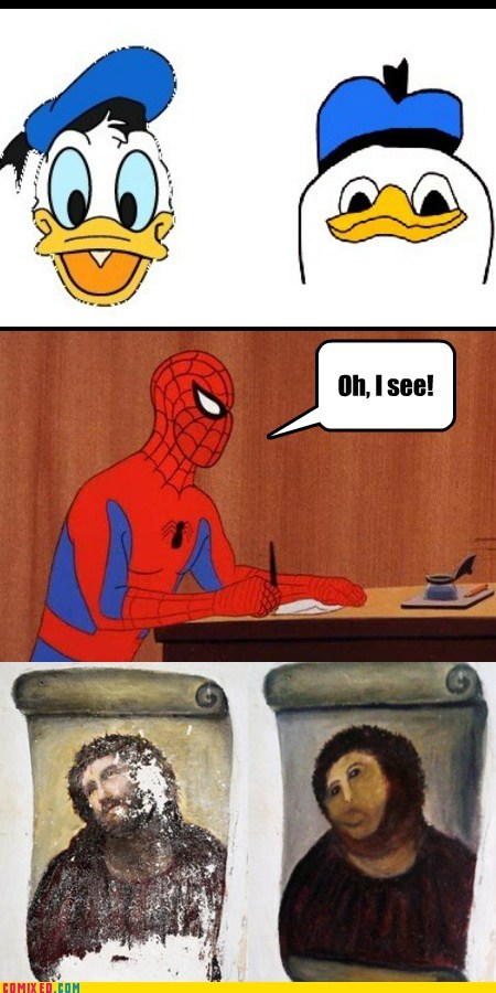 art,botched restoration,dolan,jesus,Spider-Man,spoderman