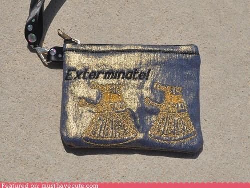 daleks,doctor who,embroidered,wallet,wristlet