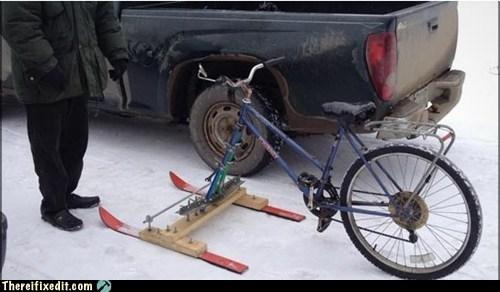 bicycle,sled,snow,snowmobile,toboggan