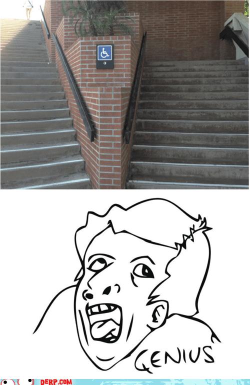 genius,handicapped,stairs