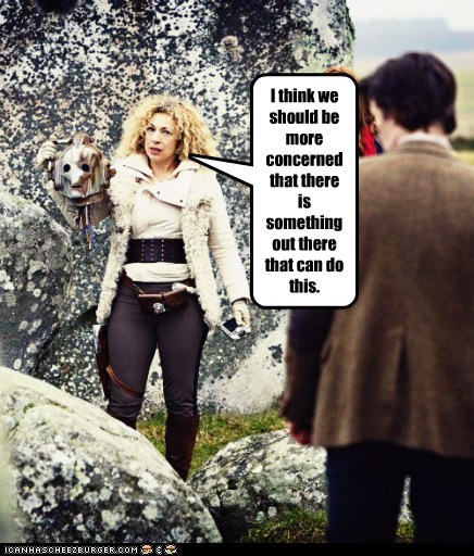 alex kingston,concern,cyberman,decapitation,doctor who,head,Matt Smith,River Song,the doctor,threatening,worried