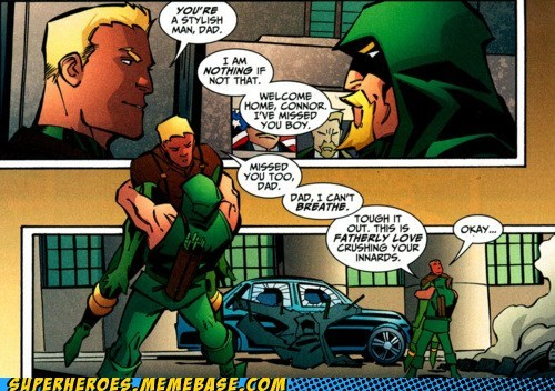 Father,green arrow,love,off the page