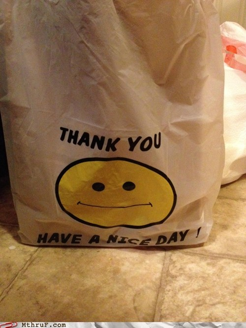 grocery bag,happy face,have a nice day,plastic bag