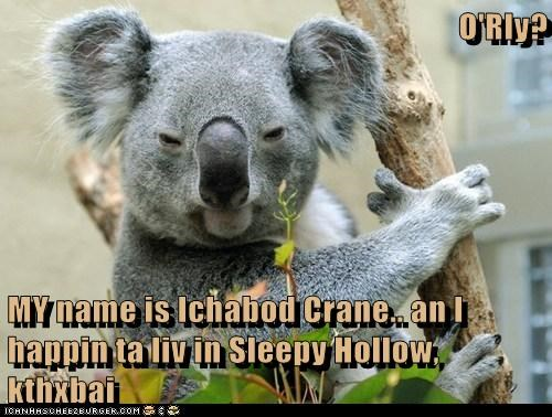 O'Rly?  MY name is Ichabod Crane.. an I happin ta liv in Sleepy Hollow, kthxbai