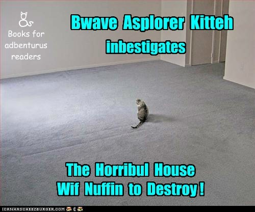 Bwave Asplorer Kitteh in a horror book!