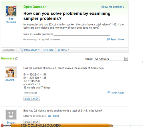math,not necessary,simpler problems,word problems,yahoo answers,Yahoo! answers