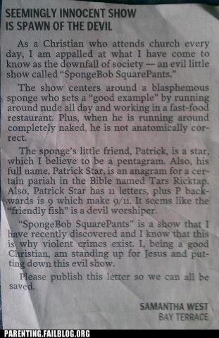 christianity,newspaper,satan,SpongeBob SquarePants