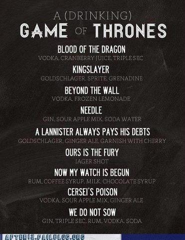 Game Of Thrones Drinks of the Day