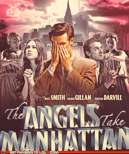 amy pond,angels,arthur darvill,doctor who,karen gillan,Matt Smith,old movie,poster,rory williams,the doctor,weeping angels