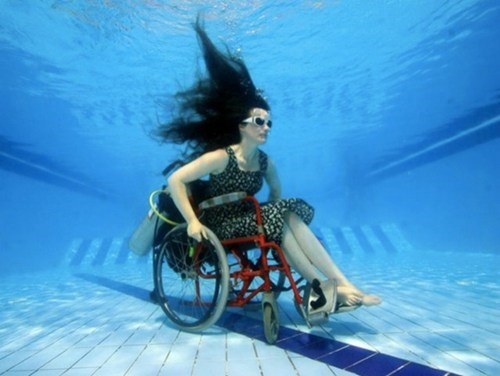 early bird special,rolling in the deep,sue austin,underwater wheelchair