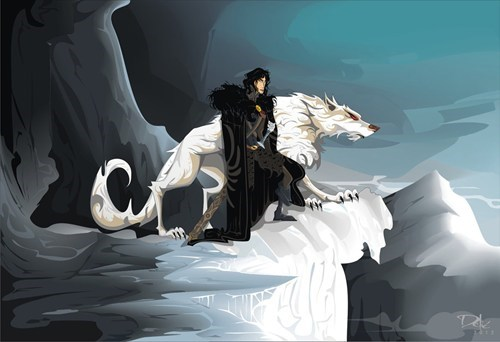 a song of ice and fire,FanArt,Game of Thrones,ghost,Jon Snow,the wall