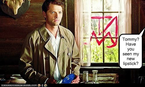 misha collins,Catiel,lipstick,drawing,guilty,Supernatural