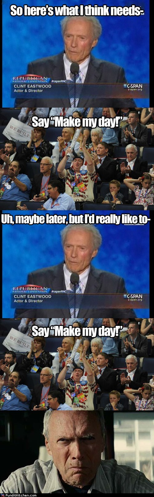 Clint Eastwood,dirty harry,interrupt,make my day,rnc