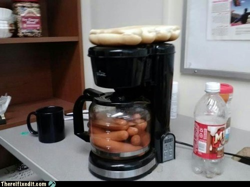 There I Fixed It: Coffee Machine Upgraded to Hotdog Maker