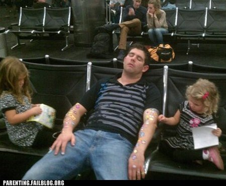 airport,daddydaughters,sleeping,stickers