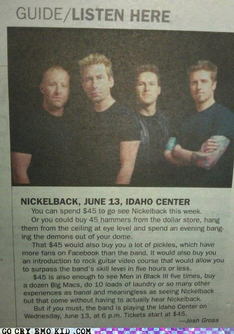 hammers,Idaho,Music,newspaper,nickleback