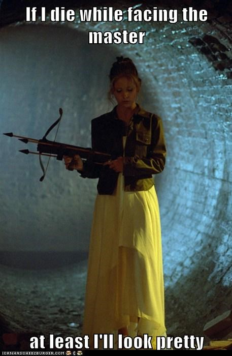 buffy summers,Buffy the Vampire Slayer,crossbow,die,dress,fight,pretty,Sarah Michelle Gellar,the master,vampires