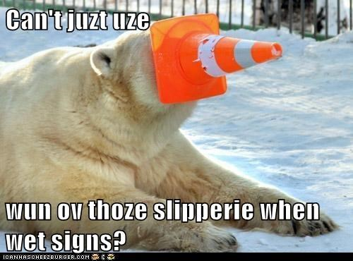 Can't juzt uze   wun ov thoze slipperie when wet signs?