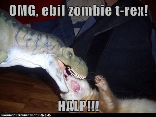 OMG, ebil zombie t-rex!  HALP!!!