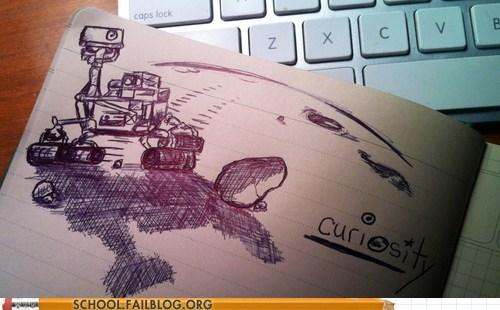 a curious drawing,curiosity,mars landing,mars rover