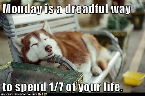 Monday is a dreadful way  to spend 1/7 of your life.