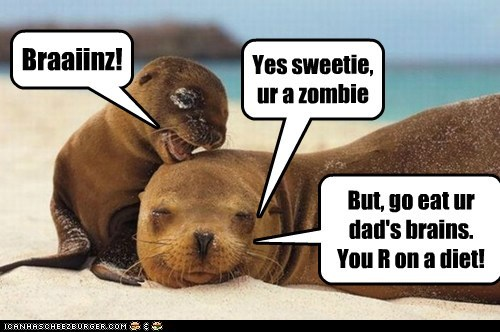 annoyed,baby seal,brains,dad,diet,mom,parenting,seals,sleeping,stupid,zombie