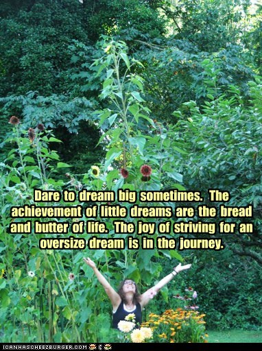 Dare  to  dream  big  sometimes.   The achievement  of  little  dreams  are  the  bread and  butter  of  life.   The  joy  of  striving  for  an oversize  dream  is  in  the  journey.