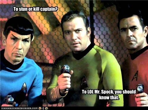Captain Kirk,james doohan,Leonard Nimoy,lol,phasers,plug,scotty,Shatnerday,Spock,Star Trek,William Shatner