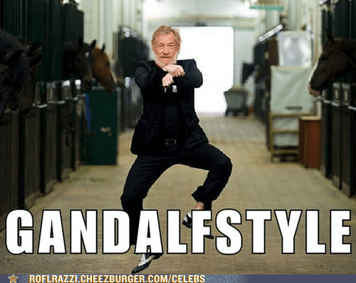 actor,celeb,funny,gandalf,gangam style,ian mckellen,Lord of the Rings,meme,Sir Ian McKellen