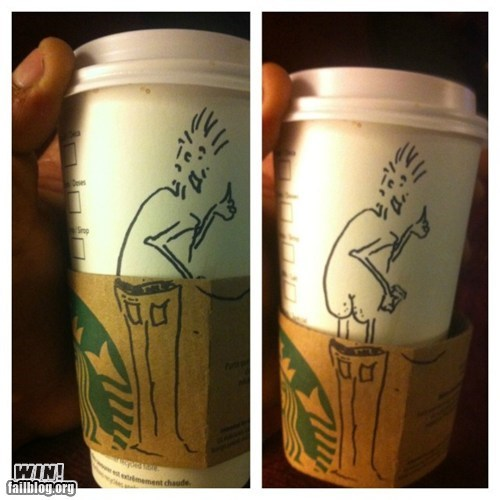 art,cartoons,clever,cup,drawing,dude parts,Starbucks
