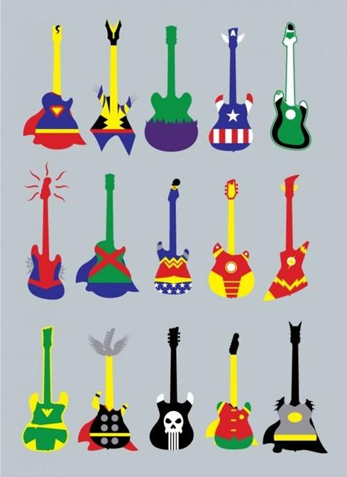 art,batman,captain america,game guitar hero,iron man,Nerd Nightly News,Spider-Man,superman,the hulk,Thor,wolverine