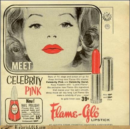 Ad,flame glo,lipstick,makeup