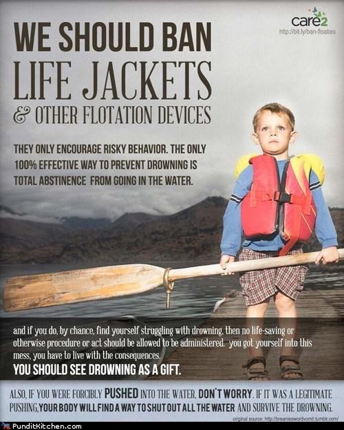 comparison,drowning,legitimate,life jacket,logic