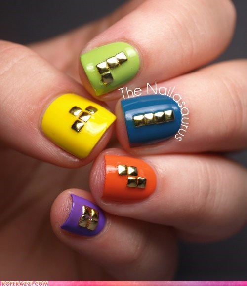 fashion,if style could kill,manicure,metallic,nails,pyramids,style,tetris
