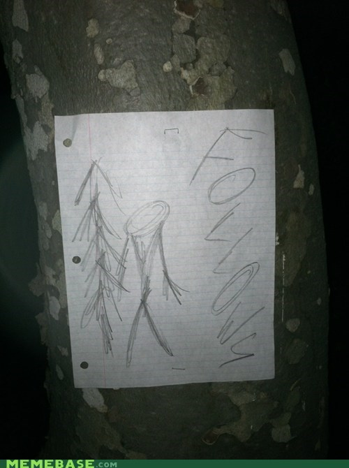 Stapled to a tree on my night hike. No Joke