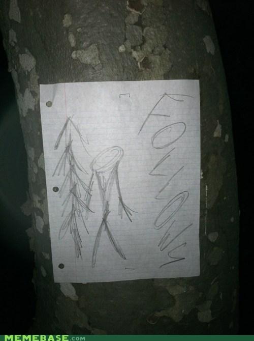 Stapled to a tree on my night hike. No Joke