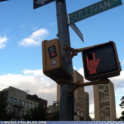 crosswalk,rock fist,street lights