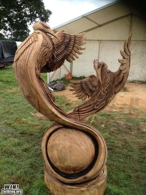 chainsaw,chainsaw sculptures,design,heron,sculpture,wood