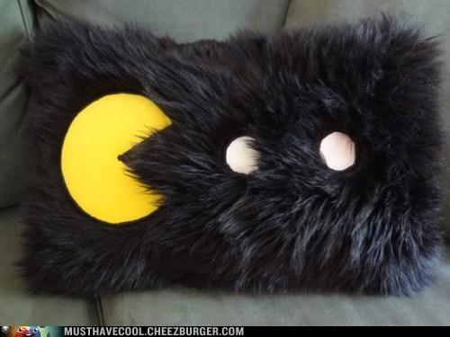 furry,pac man,Pillow,throw pillow