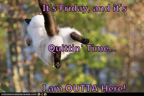 It's Friday, and it's                   Quittin' Time...                I am OUTTA Here!