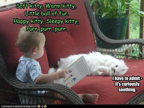 Soft kitty, Warm kitty,  Little ball of fur.  Happy kitty, Sleepy kitty,  Purr, purr, purr.