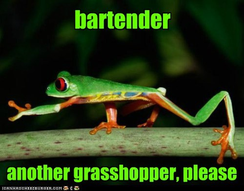 bartender,grasshopper,killed,ordering,please,shaken not stirred,tree frog