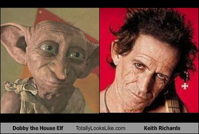 Dobby the House Elf (Harry Potter) Totally Looks Like Keith Richards (Rolling Stones)
