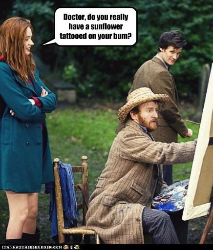 amy pond,the doctor,karen gillan,tattoo,sunflower,bum,Matt Smith,Vincent van Gogh,painting,portrait