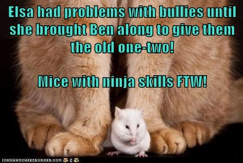 Elsa had problems with bullies until she brought Ben along to give them the old one-two! Mice with ninja skills FTW!