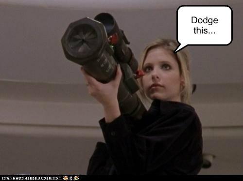 buffy summers,Buffy the Vampire Slayer,dodge,rocket launcher,Sarah Michelle Gellar