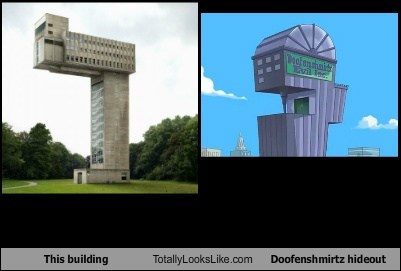 This building Totally Looks Like  Doofenshmirtz hideout