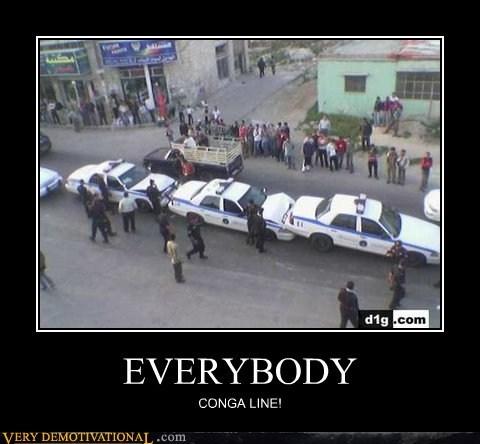 Conga line,cops,everybody,so dumb